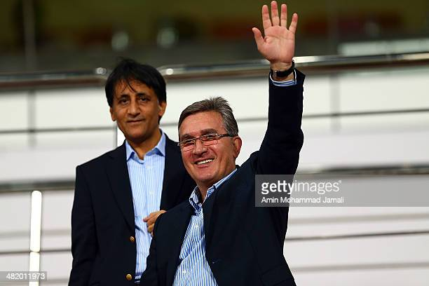 Branko Ivankovic looks on during the AFC champions League between Esteghlal and Al Jazira on April 2 2014 in Abu Dhabi United Arab Emirates