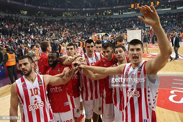 Branko Lazic #10 Charles Jenkins #22 Milko Bjelica #51 Nemanja Dangubic #6 Stefan Jovic #24 and Luka Mitrovic #9 of Crvena Zvezda mts Belgrade...