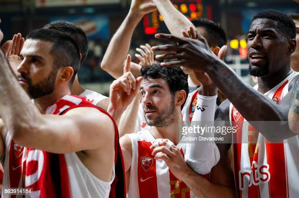 Branko Lazic Taylor Rochestie and Mathias Lessort of Crvena Zvezda celebrate after winning the 2017/2018 Turkish Airlines EuroLeague Regular Season...