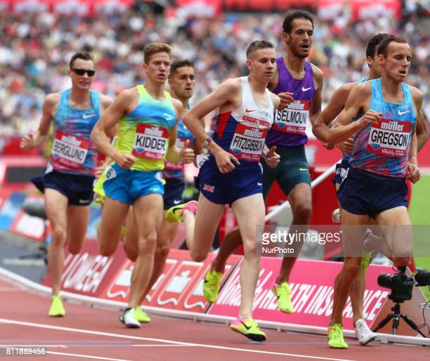 LR Brannon Kidder Robbie Fitgibbon and Ryan Gregson in the men's 1500 metres during Muller Anniversary Games at London Stadium in London on July 09...