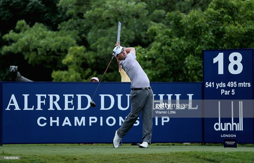 Bransen Grace of South Africa tees off on the 18th hole during the final round of the Alfred Dunhill Championship at Leopard Creek Country Golf Club on December 16, 2012 in Malelane, South Africa.