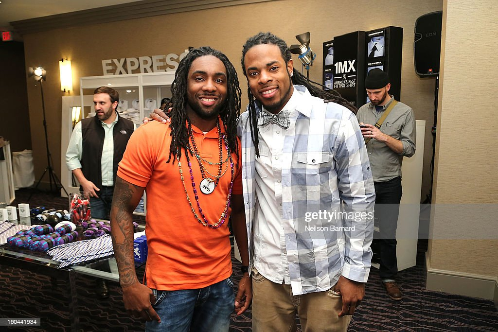 Branton Sherman and Richard Sherman of the Seattle Seahawks attend EXPRESS 1MX Ultimate Shirt Shop & 'Welcome to New Orleans' Happy Hour at Hyatt French Quarter Hotel on January 31, 2013 in New Orleans, Louisiana.