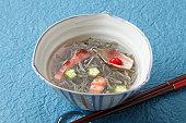 Brasenia schreberi, shrimp and okra in vinegar