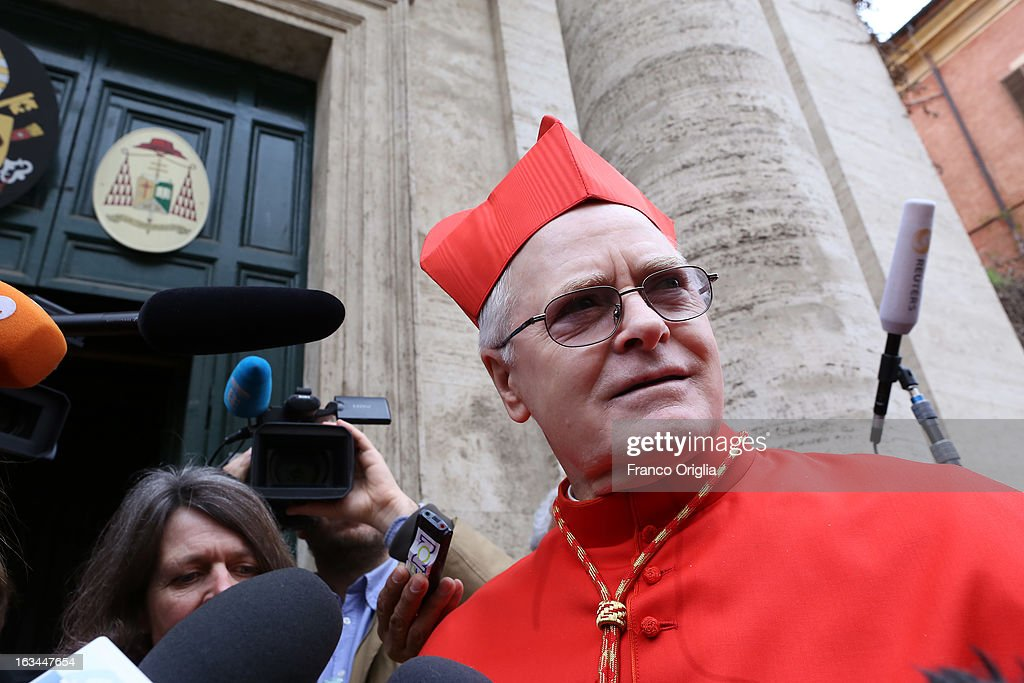 Brasilian cardinal and Sao Paulo archbishop Odilo Pedro Scherer arrives at St. Andrea al Quirinale church to lead a Sunday service mass on March 10, 2013 in Rome, Italy. Cardinals are set to enter the conclave to elect a successor to Pope Benedict XVI after he became the first pope in 600 years to resign from the role. The conclave is scheduled to start on March 12 inside the Sistine Chapel and will be attended by 115 cardinals as they vote to select the 266th Pope of the Catholic Church.