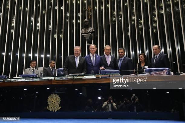 Brasilien Bundesratspraesident und Niedersaechsischer Ministerpraesident Stephan Weil SPD zu Besuch in Brasilien Brasilia Gespraech und kurze...