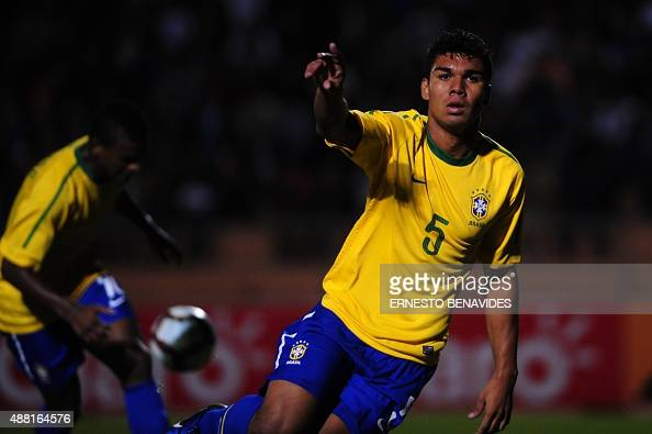Brasil´s halfback Carlos Casimiro celebrates after scoring against Colombia during their Under20 South American championship match at the Jorge...