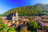Brasov, Transylvania. Romania. Panoramic view of the old town center and Tampa mountain.