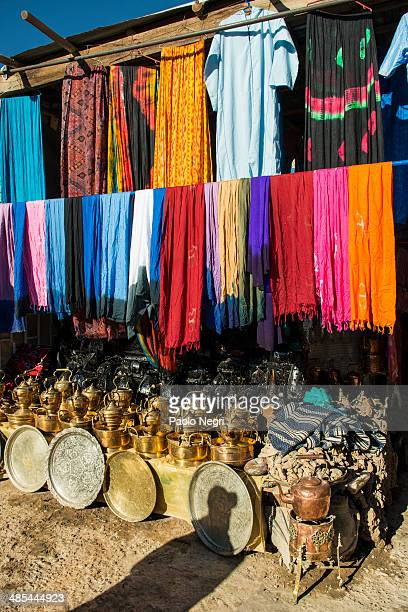 Brass and silver handicraft on sale at the Medina