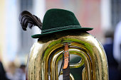 trumpet and hat of the member of bavarian brass band while Oktoberfest in Munich