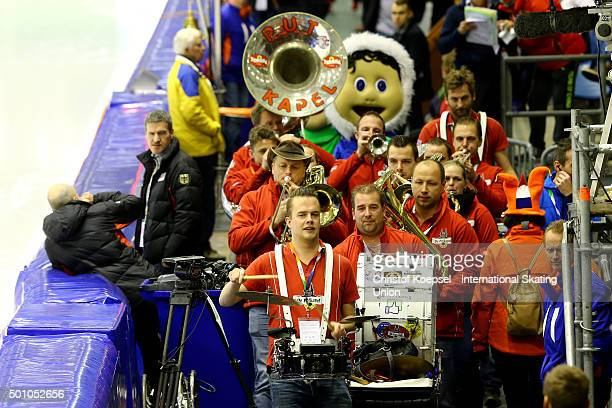A brass band plays during the men team pursuit during day 1 of ISU Speed Skating World Cup at Thialf Ice Arena on December 11 2015 in Heerenveen