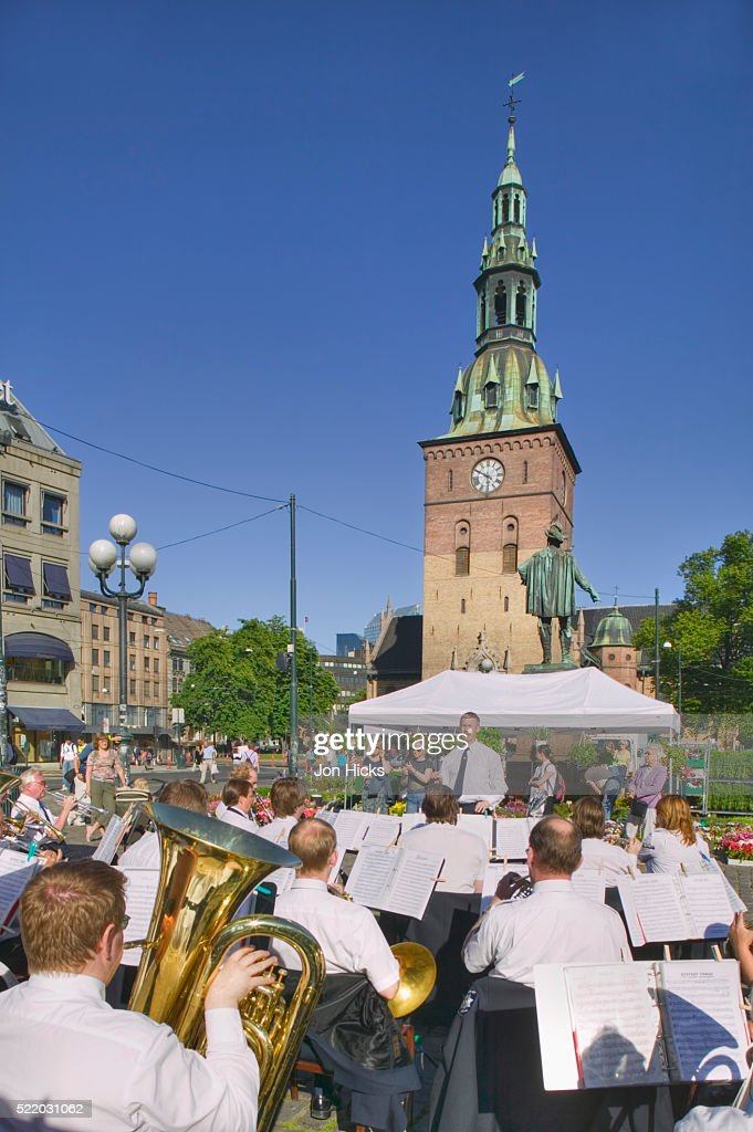 Brass Band Plays in Front of Oslo Cathedral