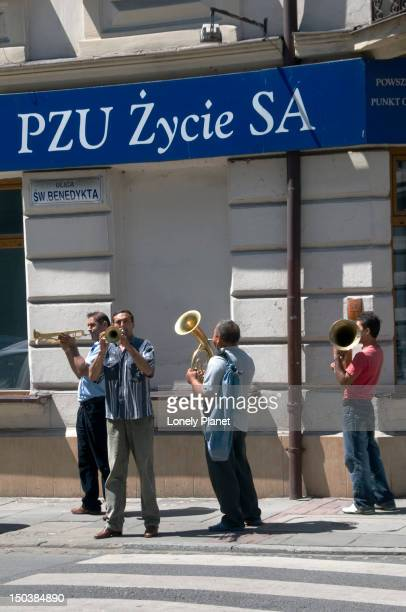 Brass band wandering about Podgorze streets