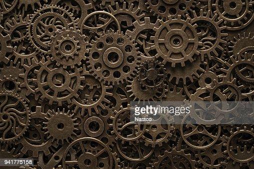 Brass cogwheels, steampunk background : Stock Photo