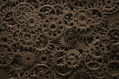 Brass cogwheels, steampunk background, texture with copy space