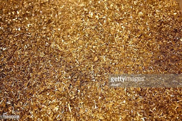 brass, golden metal shavings