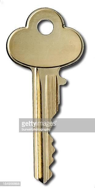 Brass House Key on white
