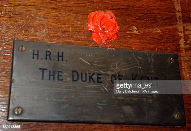 Brass plaque 'HRH The Duke of Kent' on Lot 1344 a late Victorian iron bound oak silver chest which is one of the belongings from the former home of...