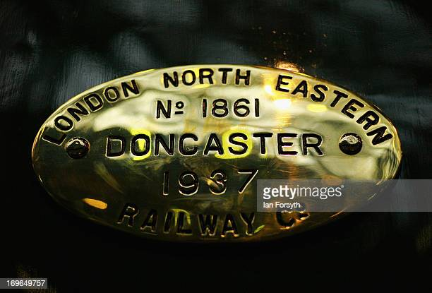 A brass plaque on the side of the locomotive 'Dwight D Eisenhower' is pictured at the National Railway Museum on May 29 2013 in York England The...