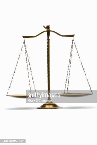 Brass scale on white background : Stock Photo
