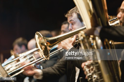 Brass section in orchestra
