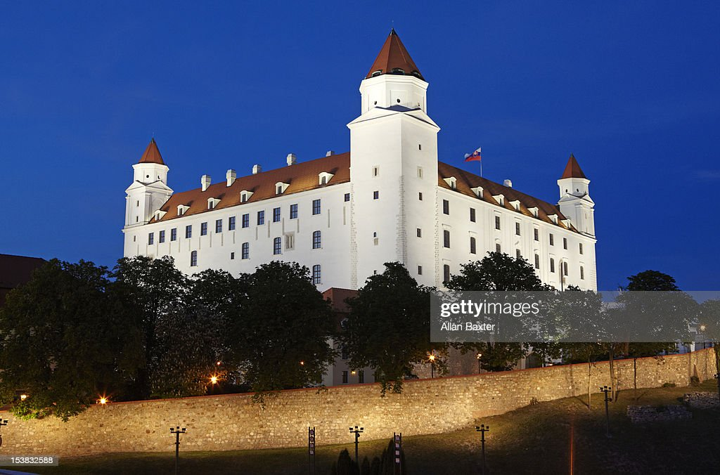 Bratislava Castle illuminated at night : Stock Photo
