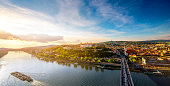 Bratislava aerial cityscape view on the old town with Saint Martin's cathedral, castle hill and Danube river on the sunset in Slovakia