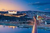 Image of Bratislava, the capital city of Slovakia during sunset.