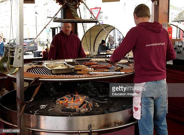 Bratwurst stall at Truro Christmas Market Cornwall UK