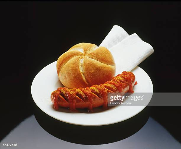 Bratwurst with Ketchup and a Roll