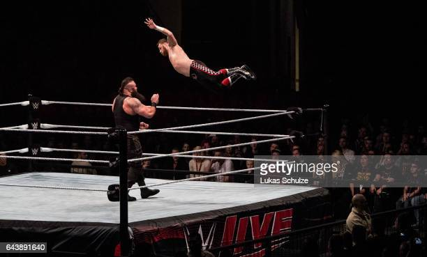 Braun Strowman is attacked by Sami Zayn during to the WWE Live Duesseldorf event at ISS Dome on February 22 2017 in Duesseldorf Germany