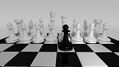 black pawn approaching white pieces