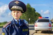Brave traffic cop boy