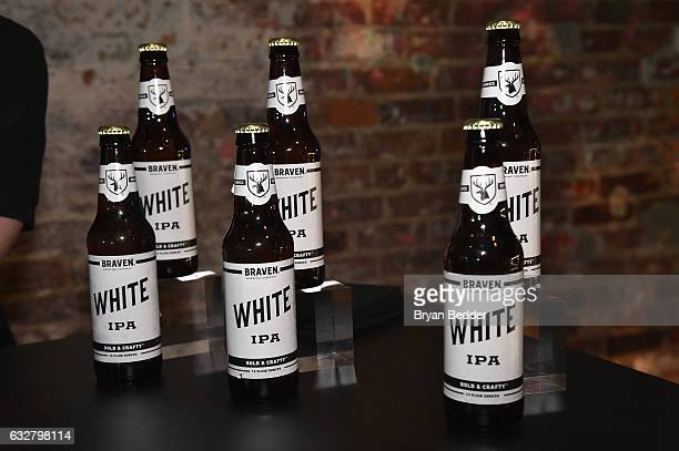 Braven Brewery Beer on display at the FX's Legion WhereHouse at Villian on January 26 2017 in Brooklyn New York