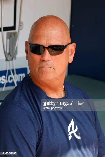Braves manager Brian Snitker prior to the major league baseball game between the Atlanta Braves and the Miami Marlins on September 10 at SunTrust...