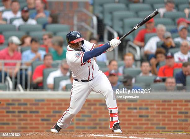 Braves third baseman Adonis Garcia flies out to right field during a game between the Atlanta Braves and Philadelphia Phillies on June 6 2017 at...