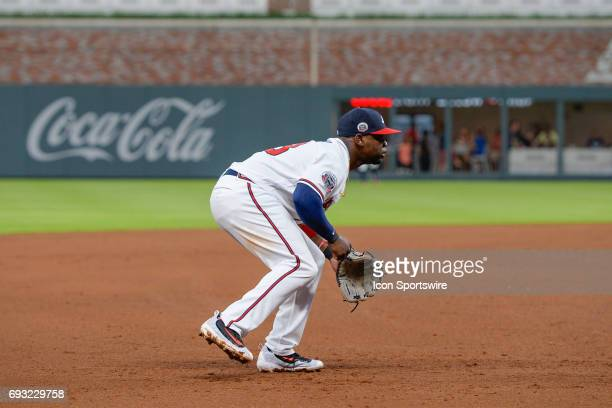 Braves third baseman Adonis Garcia gets set during a game between the Atlanta Braves and Philadelphia Phillies on June 6 2017 at SunTrust Park in...