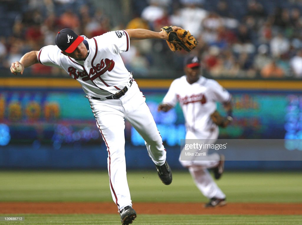 Braves third baseman Chipper Jones during the game between the Atlanta Braves and the Philadelphia Phillies at Turner Field in Atlanta GA on April 30...