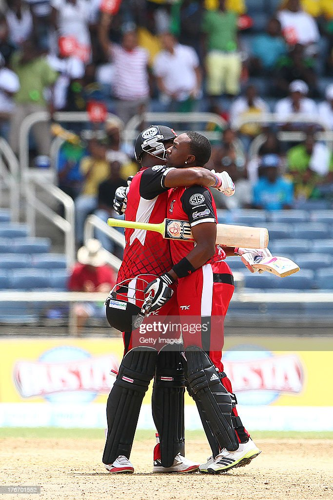 Bravo brothers take T&T to victory during the Eighteenth Match of the Cricket Caribbean Premier League between St. Lucia Zouks v Trinidad and Tobago Red Steel at Sabina Park on August 17, 2013 in Kingston, Jamaica.