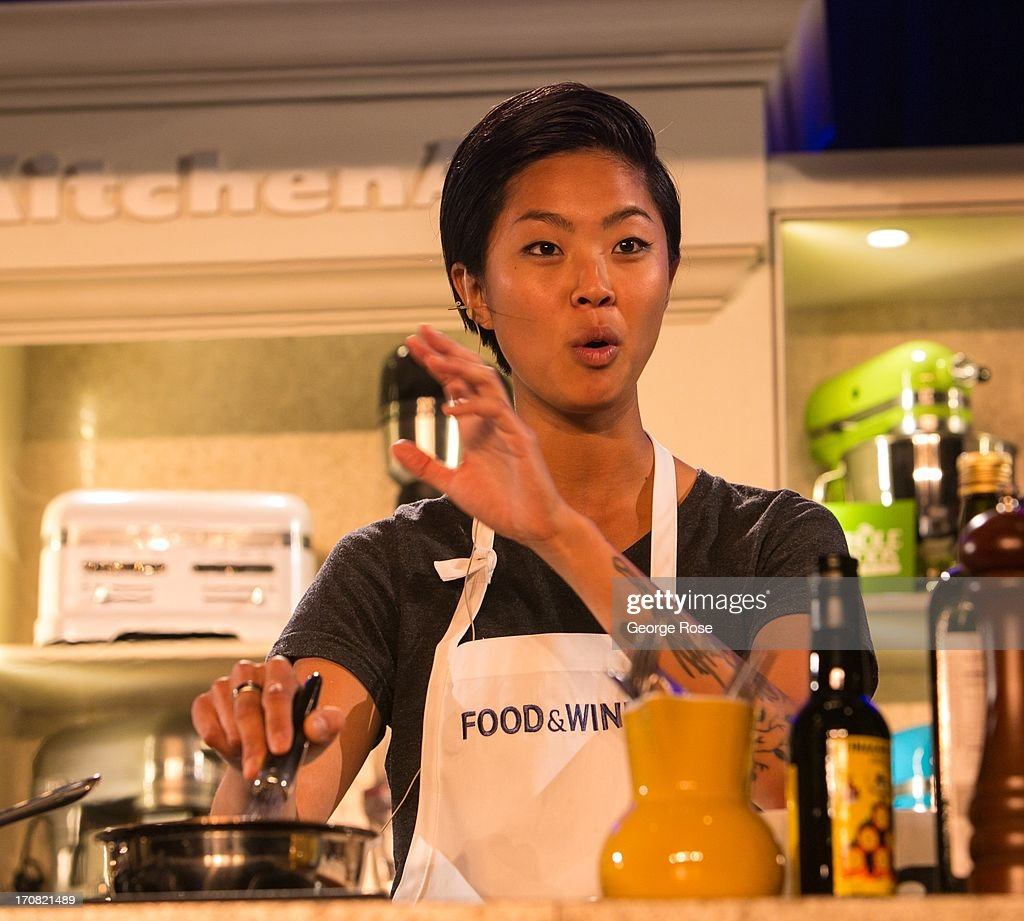 Bravo TV's Top Chef Season 10 winner Kristen Kish conducts a cooking demonstration on June 14 in Aspen Colorado The 31st Annual Food Wine Classic...