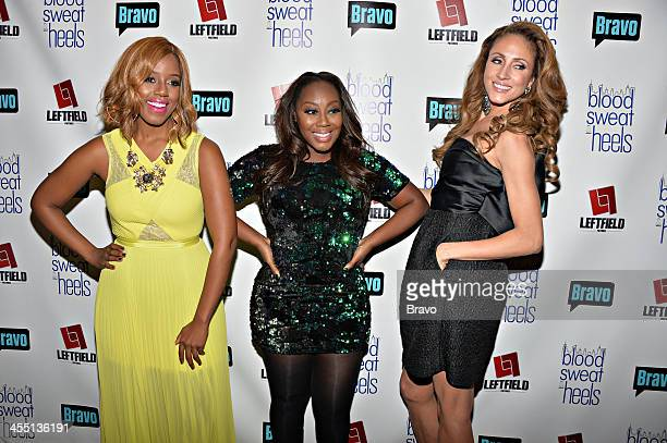 BLOOD SWEAT HEELS 'Bravo's Blood Sweat Heels Premiere Party' Pictured Daisy Lewellyn Geneva S Thomas Mica Hughes during the 'Blood Sweat Heels'...