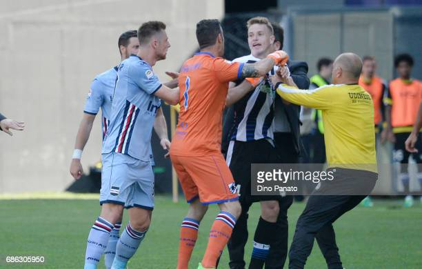 Brawl after the muriel's goal during the Serie A match between Udinese Calcio and UC Sampdoria at Stadio Friuli on May 21 2017 in Udine Italy