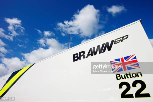 Brawn GP transporter is seen in the paddock during practice for the British Formula One Grand Prix at Silverstone on June 19 2009 in Northampton...