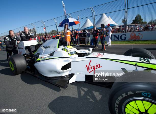 Brawn GP's Jenson Button arrives to take up pole position before the Australian Grand Prix at Albert Park Melbourne Australia