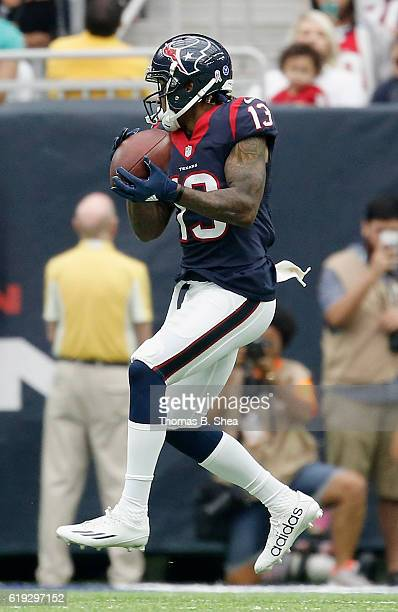 Braxton Miller of the Houston Texans catches a pass in the fourth quarter against the Detroit Lions at NRG Stadium on October 30 2016 in Houston Texas