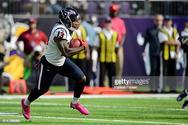 Braxton Miller of the Houston Texans returns a kick against the Minnesota Vikings during the game on October 9 2016 at US Bank Stadium in Minneapolis...
