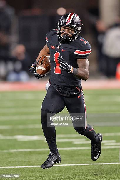Braxton Miller of the Ohio State Buckeyes runs with the ball against the Penn State Nittany Lions at Ohio Stadium on October 17 2015 in Columbus Ohio
