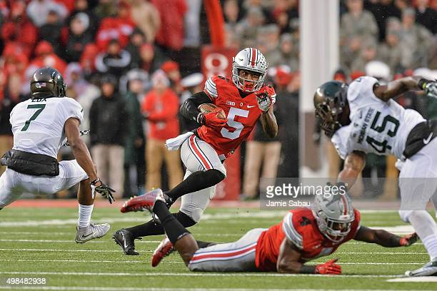 Braxton Miller of the Ohio State Buckeyes runs with the ball against the Michigan State Spartans at Ohio Stadium on November 21 2015 in Columbus Ohio
