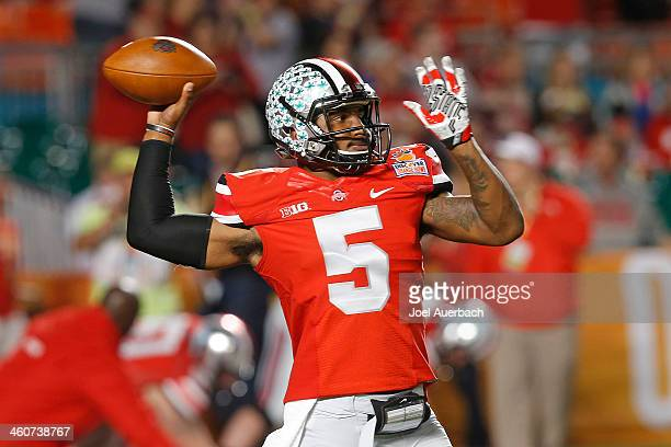 Braxton Miller of the Ohio State Buckeyes throws the ball prior to the game against the Clemson Tigers during the 2014 Discover Orange Bowl at Sun...
