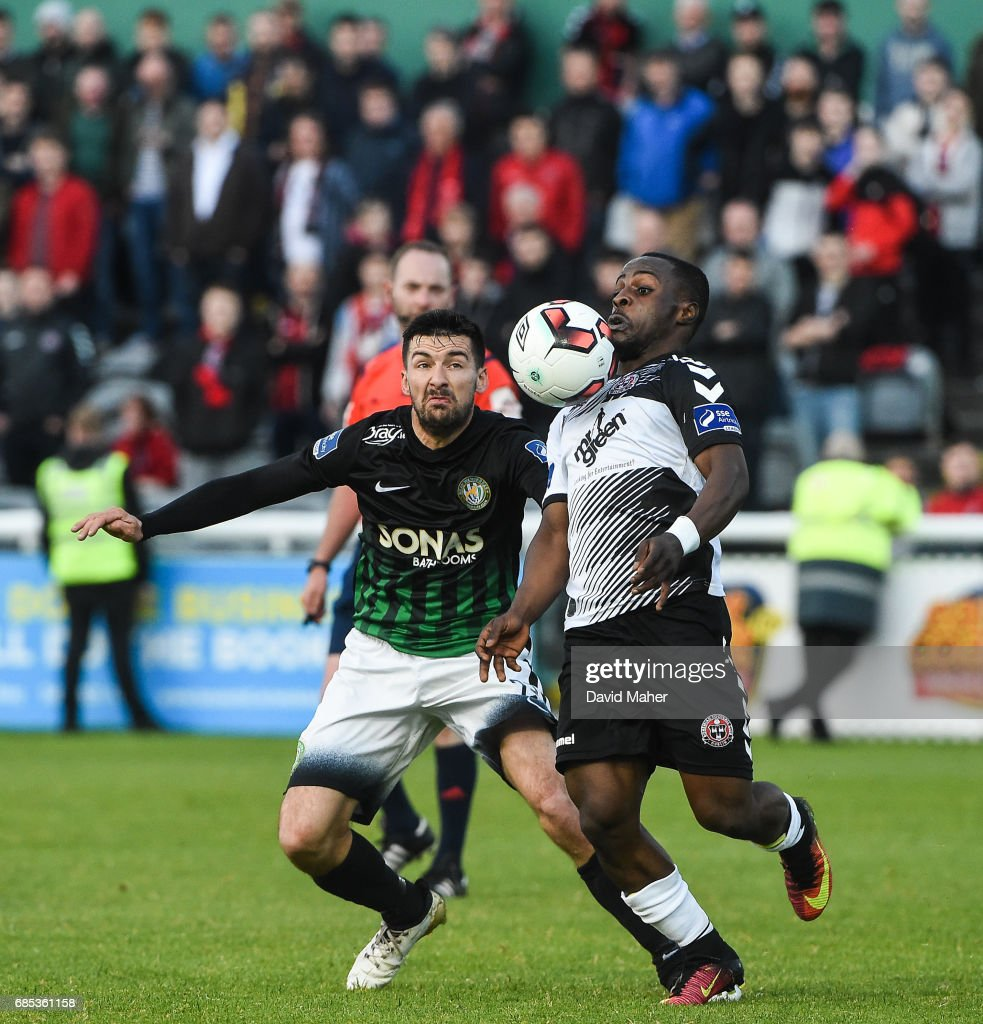 Bray , Ireland - 19 May 2017; Fuad Sule of Bohemians in action against Jason Marks of Bray Wanderers during the SSE Airtricity League Premier Division match between Bray Wanderers and Bohemians at the Carlisle Grounds in Bray, Co Wicklow.