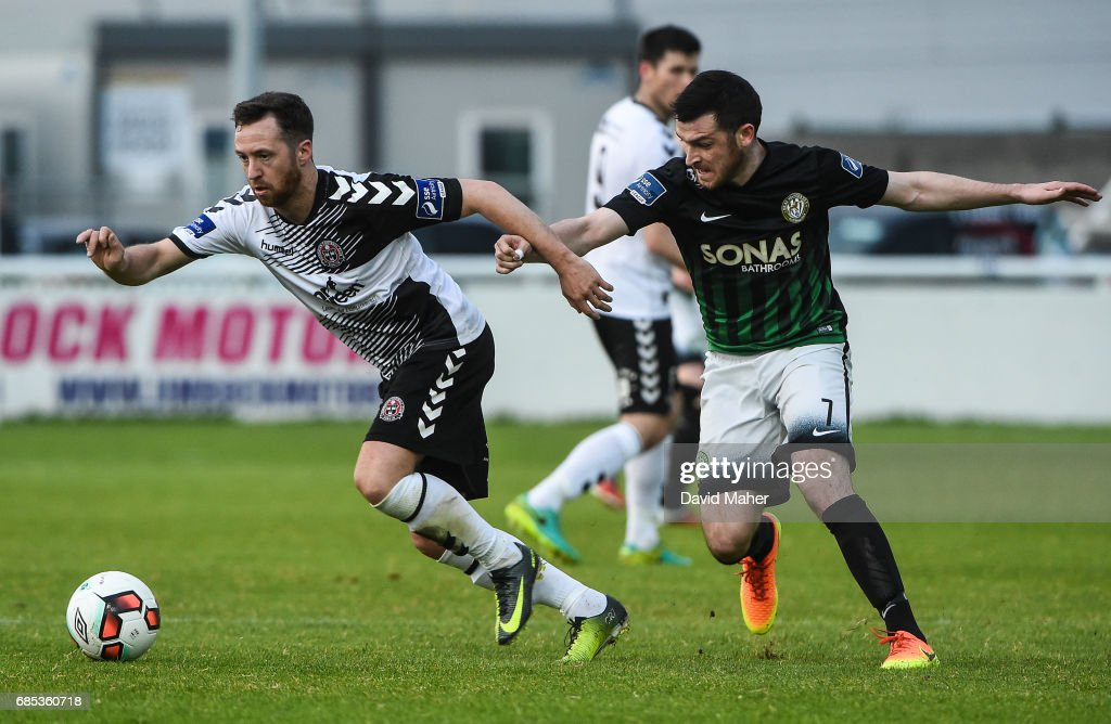 Bray , Ireland - 19 May 2017; Paddy Kavanagh of Bohemians in action against Ryan Brennan of Bray Wanderers during the SSE Airtricity League Premier Division match between Bray Wanderers and Bohemians at the Carlisle Grounds in Bray, Co Wicklow.
